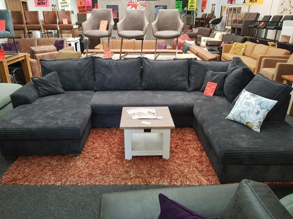 Hoekbank xl u vorm ribstof antraciet meubeloutlet