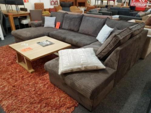Hoekbank xl u vorm ribstof bruin meubeloutlet